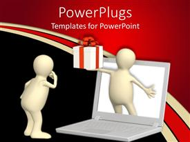 PowerPoint template displaying 3D man from laptop hands gift box over black background