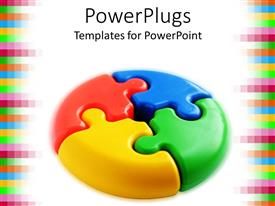 PowerPlugs: PowerPoint template with 3D puzzle pie chart with red, blue, yellow and green pieces, pixel border