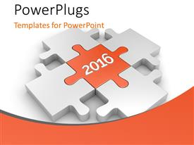 PowerPoint template displaying 3D puzzled synced together and red color puzzle showing 2016 in the center