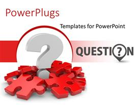 PowerPlugs: PowerPoint template with 3D question mark in white over red color puzzles with white color