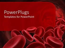 PowerPoint template displaying 3D red blood cells going through the body with red background for text