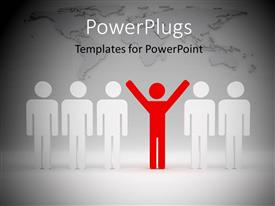 PowerPlugs: PowerPoint template with 3D red colored man with hands raised leading team