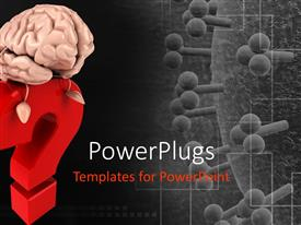 PowerPlugs: PowerPoint template with 3D red question mark with brain sitting on question mark