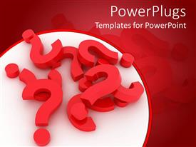 PowerPoint template displaying 3D red question marks on white circular background surrounded by red background