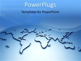 PowerPoint template displaying 3D relief world map with arrows and waves in blue