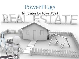 PowerPoint template displaying 3D render of a house with a 3D human character with Real Esate word