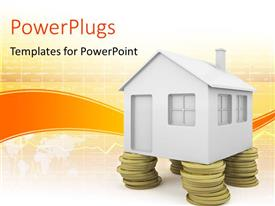 PowerPlugs: PowerPoint template with 3D rendered house standing on coin pillars depicting real estate investment