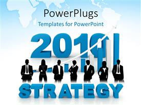 PowerPlugs: PowerPoint template with 3D rendered STRATEGY with business people over business chart
