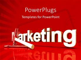 PowerPlugs: PowerPoint template with 3D rendered word MARKETING with hammer and silver spanner on red background