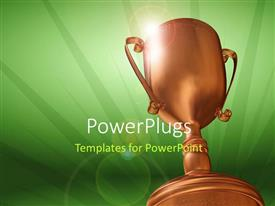 PowerPlugs: PowerPoint template with 3D rendering of bronze trophy on green background