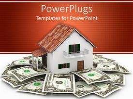 PowerPlugs: PowerPoint template with 3D rendering of bungalow surrounded by dollar bills