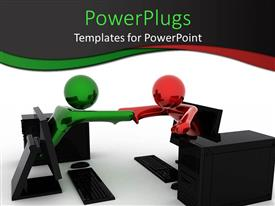 PowerPoint template displaying 3D rendering of business handshake of persons from computers