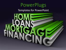 PowerPlugs: PowerPoint template with 3D rendering of financial and mortgage terms on Grey background