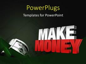 PowerPlugs: PowerPoint template with 3D rendering MAKE MONEY withroll of dollar bill