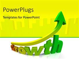 PowerPlugs: PowerPoint template with 3D rendering of word GROWTH with upward arrow over white background