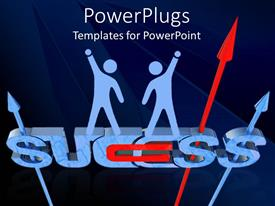 PowerPlugs: PowerPoint template with 3D rendering of word SUCCESS with paper people raising hands