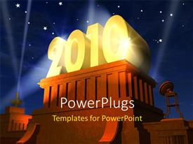 PowerPlugs: PowerPoint template with 3D rendering of year 2010 plated in gold on wooden pedestal