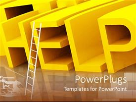 PowerPlugs: PowerPoint template with 3D rendering of yellow help sign with reflection and white ladder