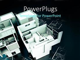 PowerPlugs: PowerPoint template with 3D representation of contemporary building on blueprints with black background