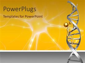 PowerPlugs: PowerPoint template with 3D representation of golden figure climbing up a DNA strand with neuron on yellow background