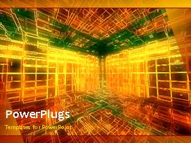 PowerPlugs: PowerPoint template with a 3D representation of a place with a bullet point