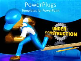 PowerPlugs: PowerPoint template with 3D running figure with gear, ruler, pencil and blueprints with yellow under construction words