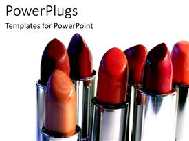 PowerPlugs: PowerPoint template with 3D seven variously colored lipsticks uncapped, red brown orange peach lipstick