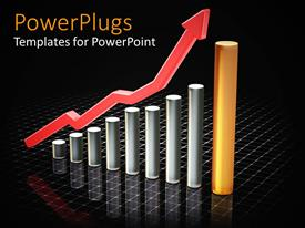 PowerPlugs: PowerPoint template with 3D shart showing rising profits in business on black background