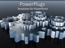 PowerPlugs: PowerPoint template with 3D silver metal gears connected together to make machinery work on gradient gray and black background