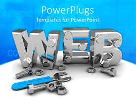 PowerPoint template displaying 3D silver steel WEB symbol with construction tools on internet theme background