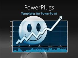 PowerPlugs: PowerPoint template with 3D smiley character on the background of a chart with an arrow