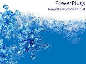 PowerPoint template displaying 3d snowflakes blue and white backgrounds snow