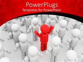 PowerPlugs: PowerPoint template with 3D standing white figures with red figure in center of others