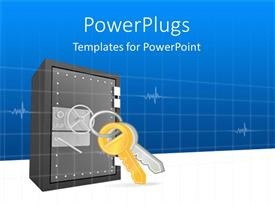 PowerPoint template displaying 3D steel safe with two keys on a key chain