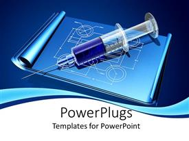 PowerPoint template displaying a 3D syringe on an open book with some images on it