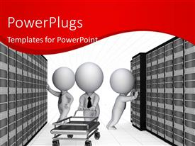 PowerPlugs: PowerPoint template with 3D team of technical support persons in communication room