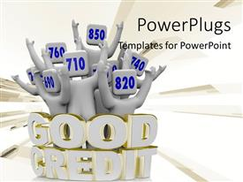 PowerPlugs: PowerPoint template with 3D text GOOD CREDIT around people with numbers on head and raised hands
