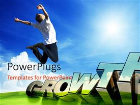 PowerPlugs: PowerPoint template with 3D text GROWTH, and man jumping with hands raised on green garden