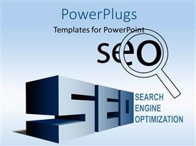 PowerPlugs: PowerPoint template with 3D text SEO with magnifying glass over blue background