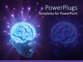 PowerPoint template displaying 3D transparent head depicting glowing brain with sparkling energy balls splashing from the brain on a purple background
