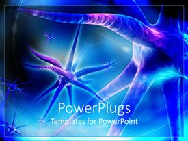 PowerPoint template displaying 3D view of nerve neurons in blue background