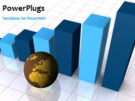 PowerPoint template displaying 3D view of spinning globe beside histogram depicting economy