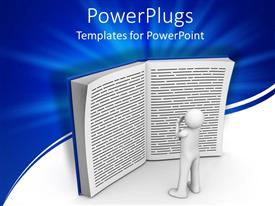 PowerPlugs: PowerPoint template with a 3D white character standing and reading a big book