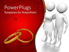 PowerPlugs: PowerPoint template with 3D white couple with gold wedding ring