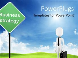 PowerPlugs: PowerPoint template with 3D white figure of business man with black tie and suitcase standing close to business strategy signpost on blue sky background