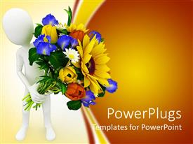 PowerPoint template displaying 3D white figure holding beautiful flower bouquet with colorful roses and sunflower