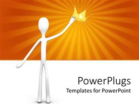 PowerPlugs: PowerPoint template with 3D white figure holding gold crown in raised hand with sun rays on orange and white background
