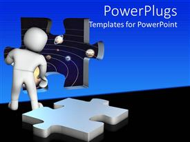 PowerPoint template displaying 3D white figure looking through missing puzzle piece window into the space with planets on orbit and puzzle piece on floor