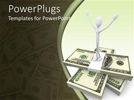 PowerPoint template displaying 3D white figure with raised hands standing on stacks of money bills