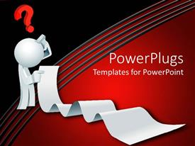 PowerPlugs: PowerPoint template with 3D white figure thinking holding long list with red question mark above head